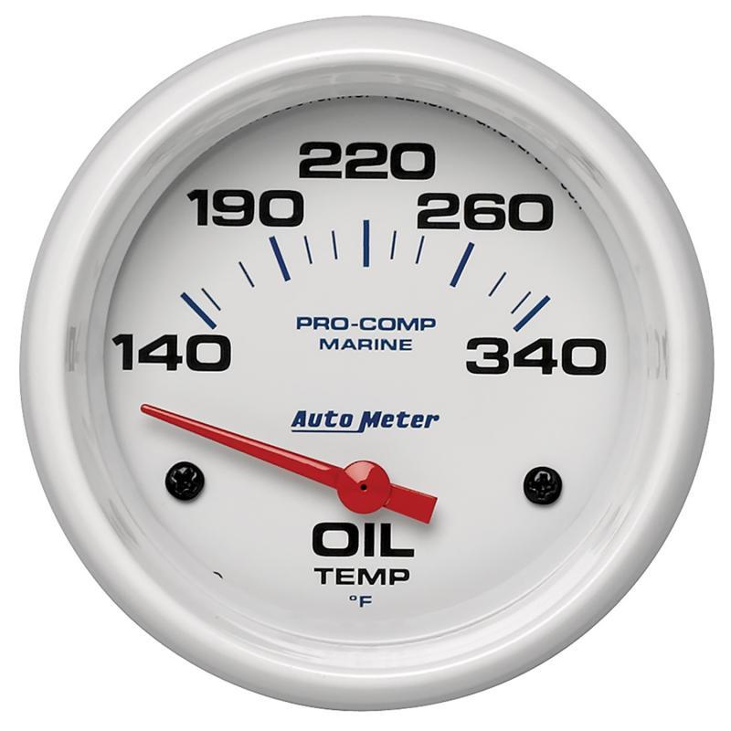 AutoMeter GAUGE; OIL TEMP; 2 5/8in.; 140-300deg.F; ELECTRIC; MARINE WHITE