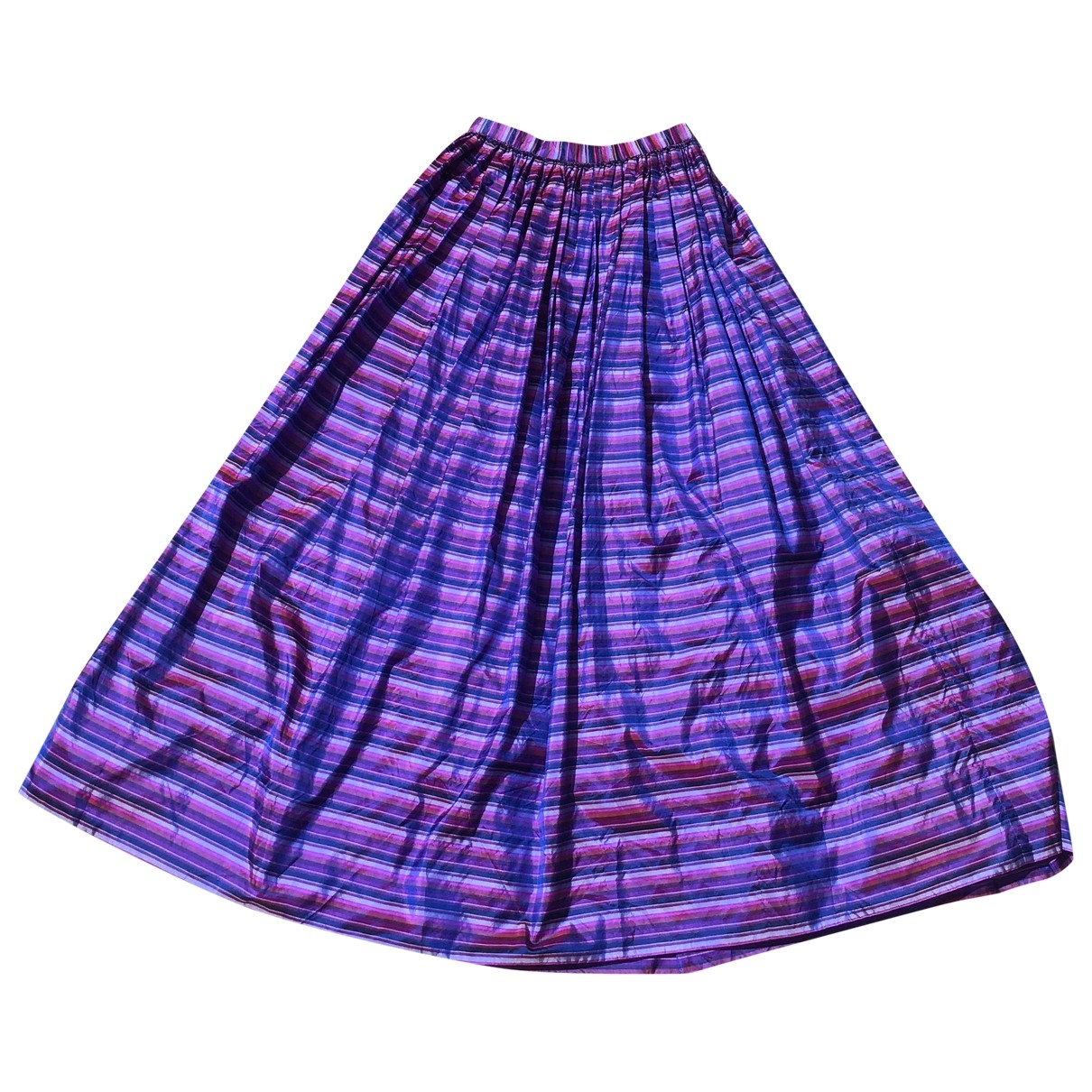 Non Signé / Unsigned Hippie Chic Purple Silk skirt for Women 42 IT