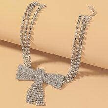 Halskette mit Strass und Schleife