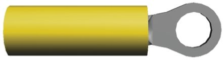 TE Connectivity , PIDG Insulated Crimp Ring Terminal, M2 (#2) Stud Size, 0.1mm² to 0.3mm² Wire Size, Yellow (50)