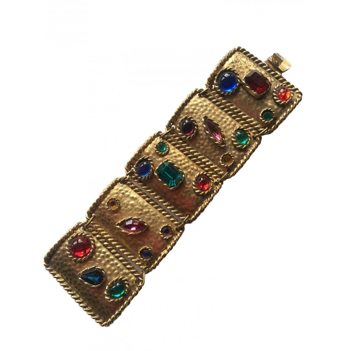 - Bracelet Manchette pour femme en plaque or - multicolore
