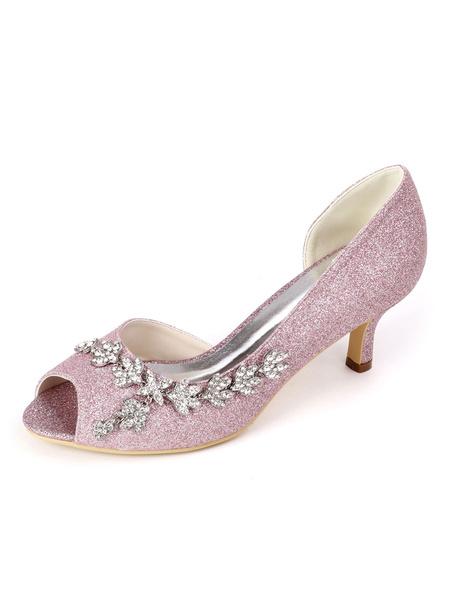 Milanoo Zapatos de novia blancos Diamantes de imitacion con lentejuelas Peep Toe Kitten Tacon Zapatos de novia Zapatos de invitados de boda