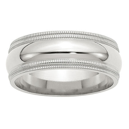 8MM Sterling Silver Wedding Band, 7 1/2 , No Color Family