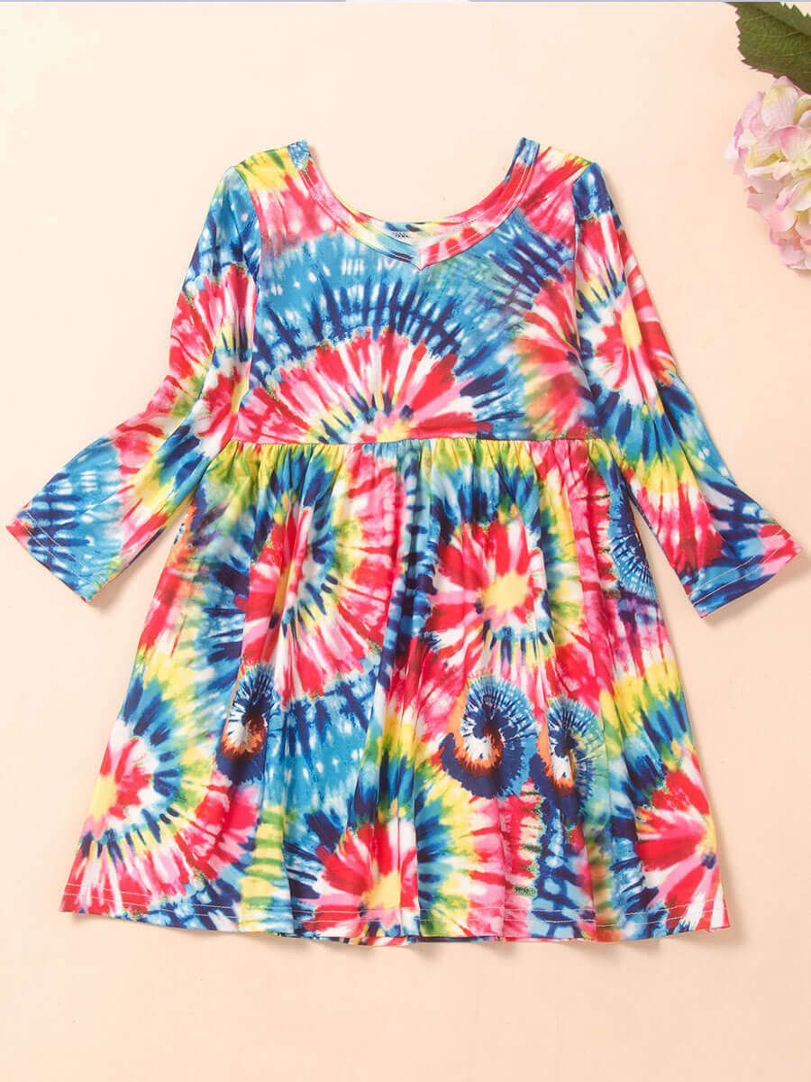 LW Lovely Sweet O Neck Tie-dye Multicolor Girl Knee Length Dress