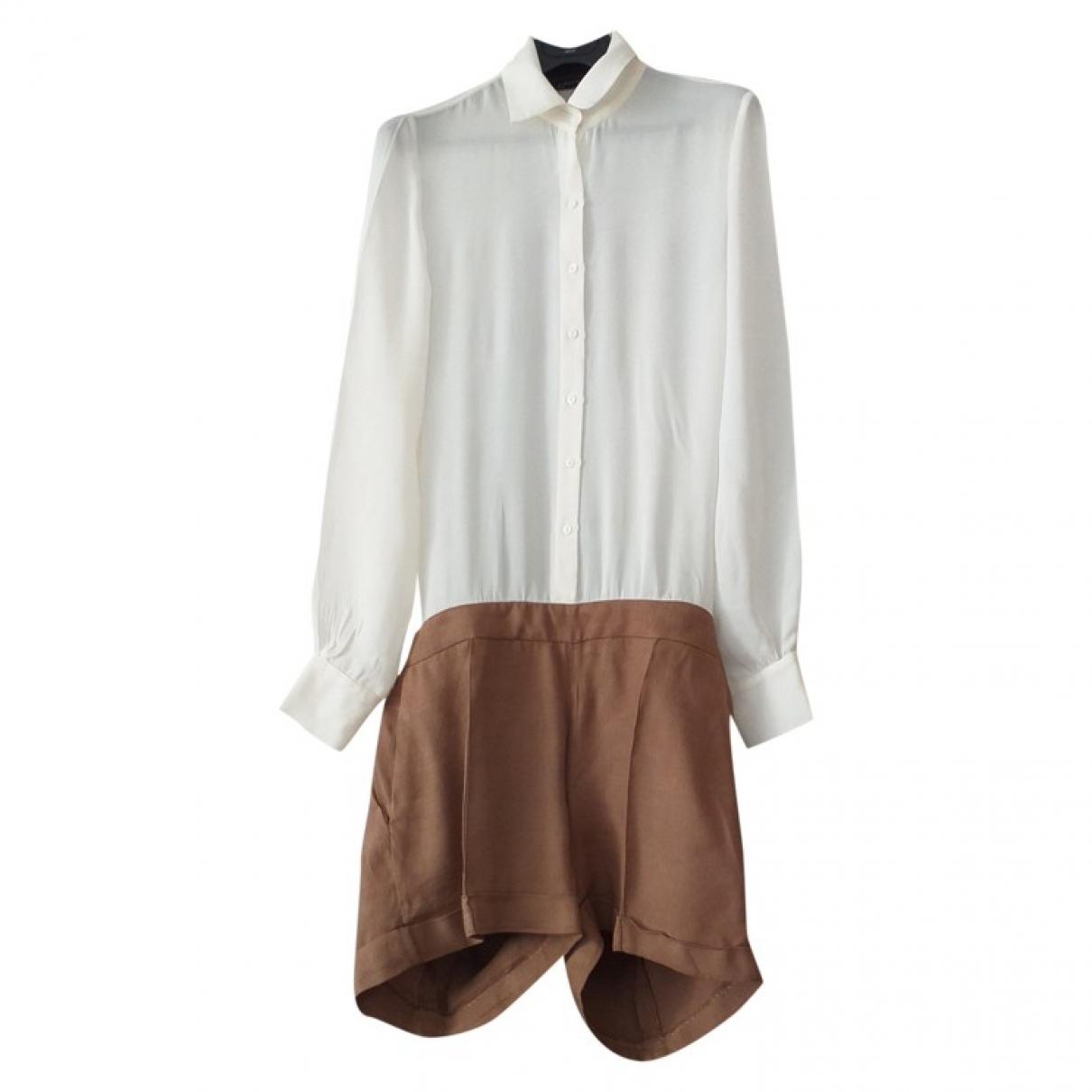 Zara \N White Linen jumpsuit for Women 42 FR