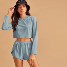 Solid Rib-knit Hooded Top With Shorts PJ Set