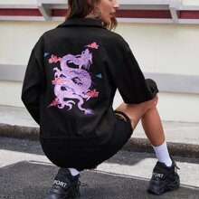 Single Breasted Flap Detail Dragon Graphic Jacket