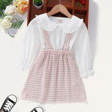 Toddler Girls Plaid Criss Cross Back Doll Collar Combo Dress