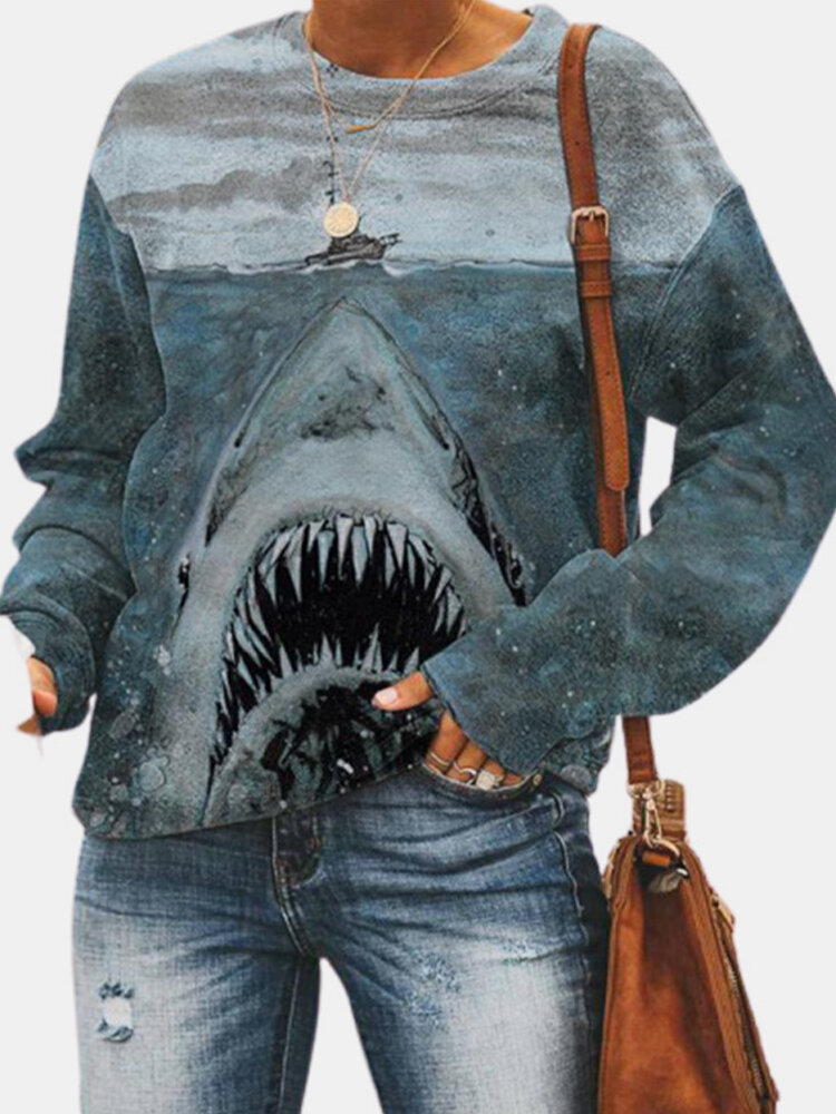 Fashion Shark Drawing Print Long Sleeve Casual Plus Size Sweatshirt