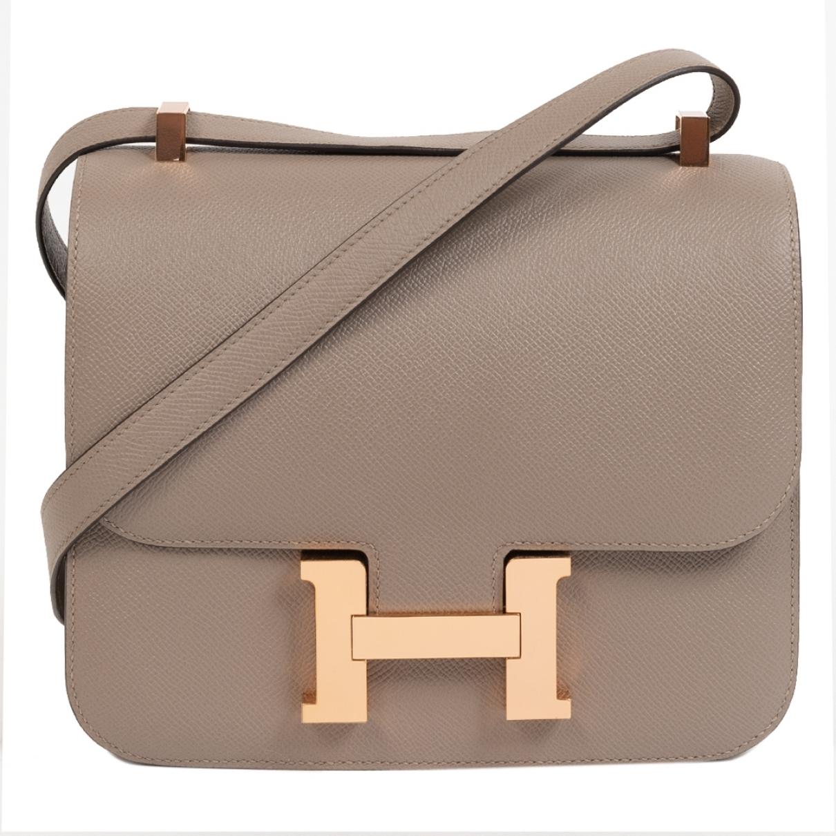 Hermes - Sac a main Constance pour femme en cuir - gris