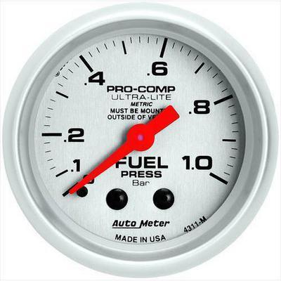 Auto Meter Ultra-Lite Mechanical Metric Unit (Bar) Fuel Pressure Gauge - 4311-M