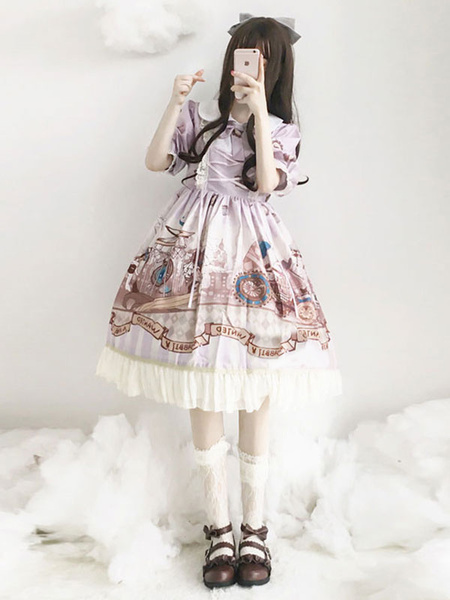 Milanoo Vestido clasico de Lolita OP Vestido de una pieza con estampado de titeres con volantes y lazo de algodon Club Lolita