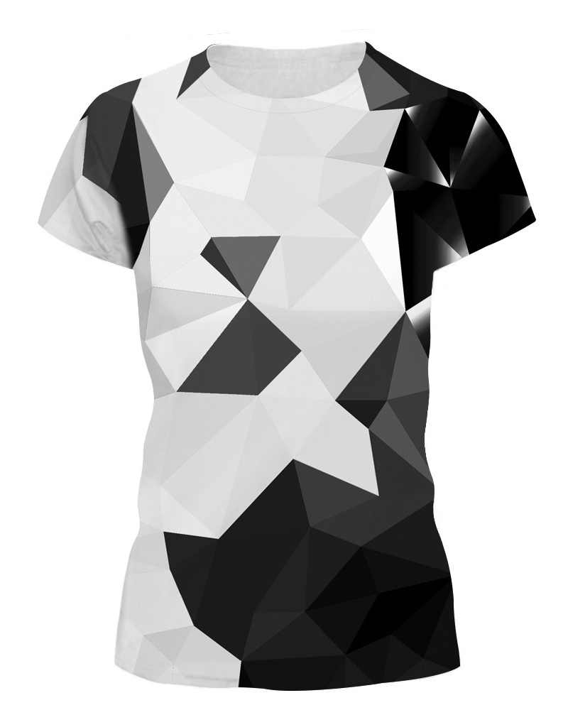 Monochrome Geometric Drawing 3D Painted T-Shirt