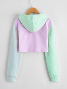 Girls Colorblock Crop Hoodie