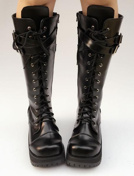 Milanoo Black Lolita Boots Platform Chunky Heel Lace Up Cross Front Buckle Round Toe Lolita Short Boots