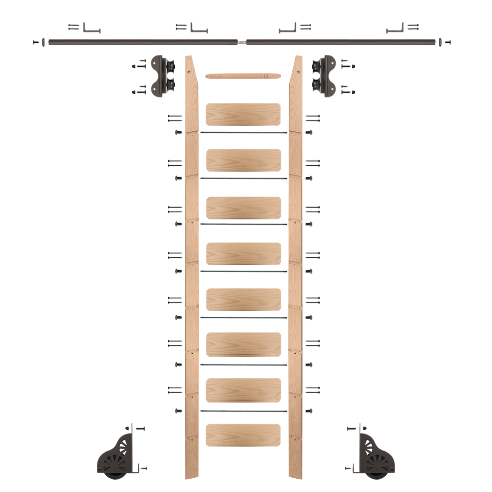 Standard Rolling 9-Foot Red Oak Ladder Kit with 8-Foot Rail and Horizontal Brackets, Bronze