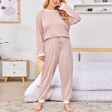 Conjunto de pijama panel en contraste de rayas