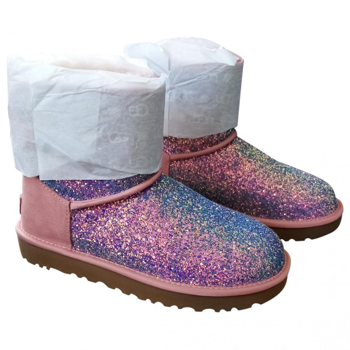 Ugg \N Pink Glitter Boots for Women 38 EU