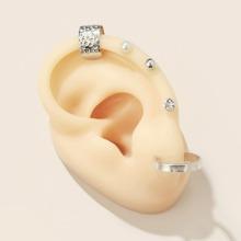 5 piezas pendientes con perla artificial con diamante de imitacion