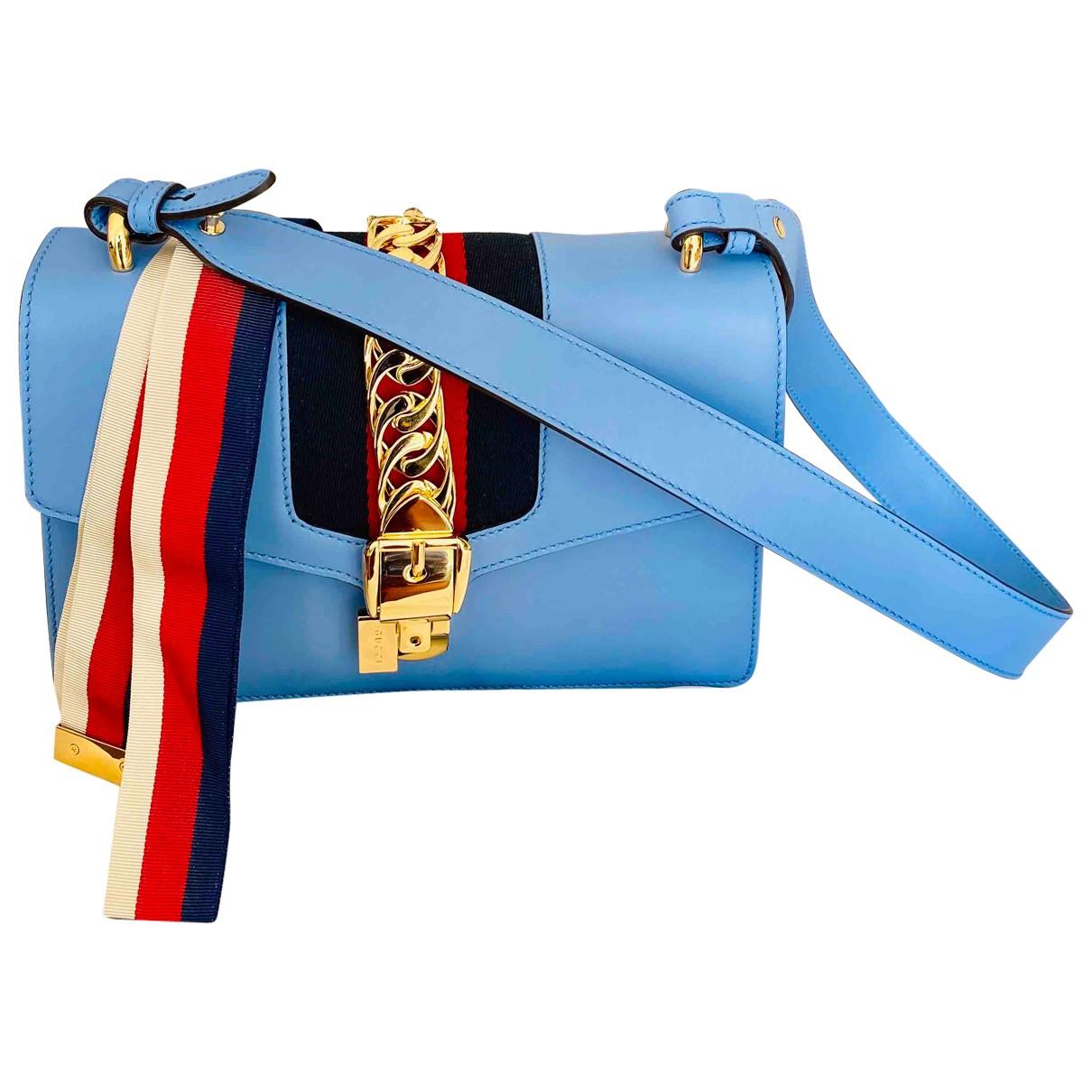Gucci - Sac a main Sylvie pour femme en cuir - bleu