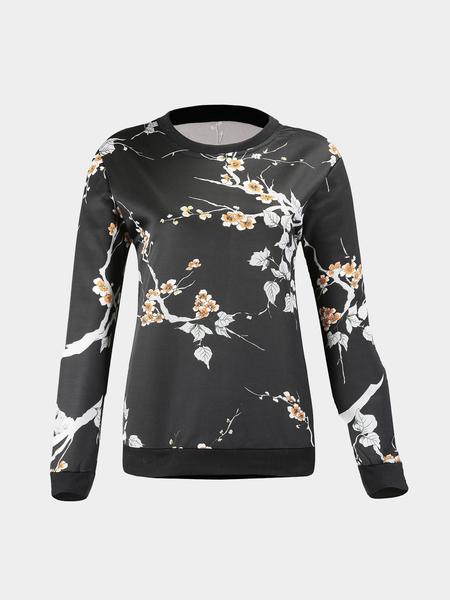 Yoins Floral Leaf Print Sweatshirt