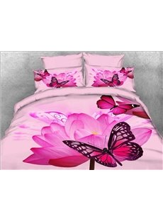 Vivilinen 3D Butterfly and Pink Lotus Printed 5-Piece Comforter Sets