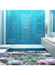 PVC 3D Classic Water Lily Non-slip Waterproof Eco-friendly Self-Adhesive Floor Murals