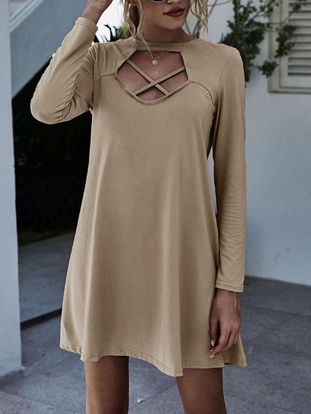 Yoins Crew neck Backless design Criss-cross Long sleeves Dress