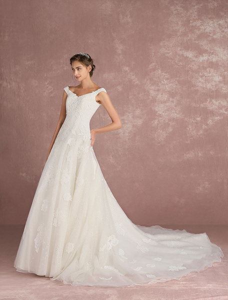 Milanoo Luxury Wedding Dress Ivory Tulle Bridal Dress V Neck Sequin Lace Applique A Line Bridal Gown With Train