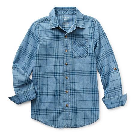 Arizona Little & Big Boys Long Sleeve Button-Down Shirt, X-large (18-20) , Blue