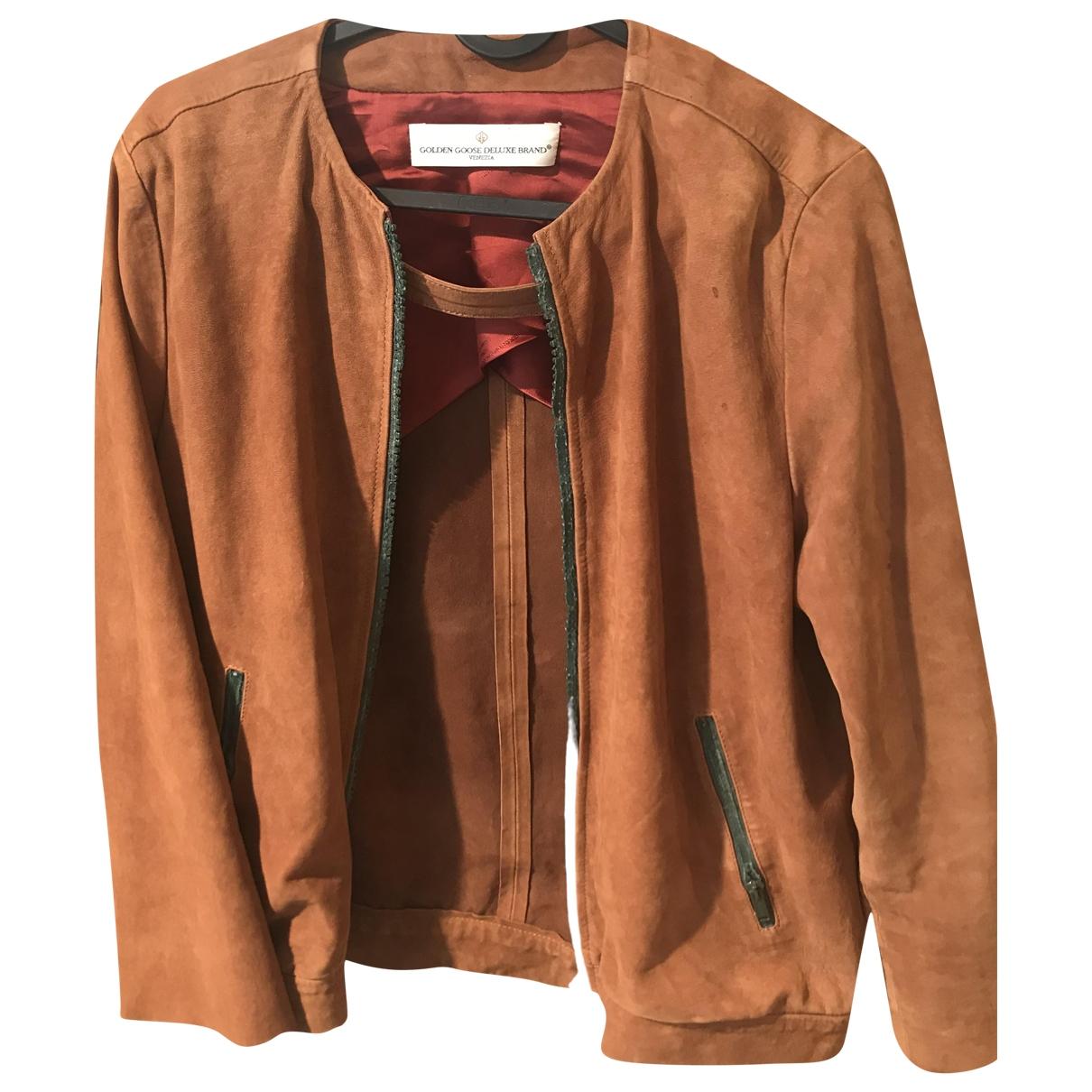 Golden Goose - Blouson   pour femme en cuir - camel