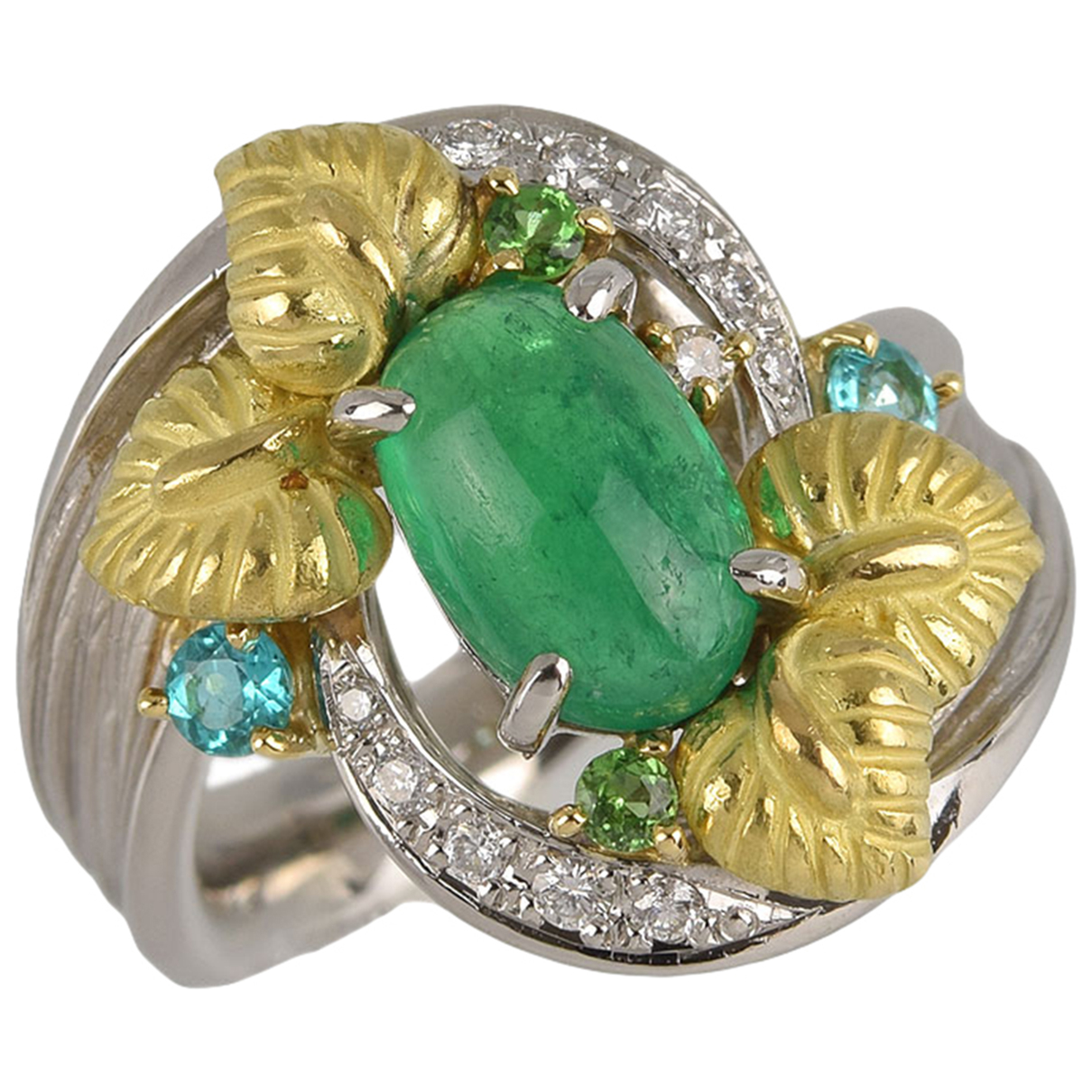 Non Signé / Unsigned \N Green Platinum ring for Women 53 EU