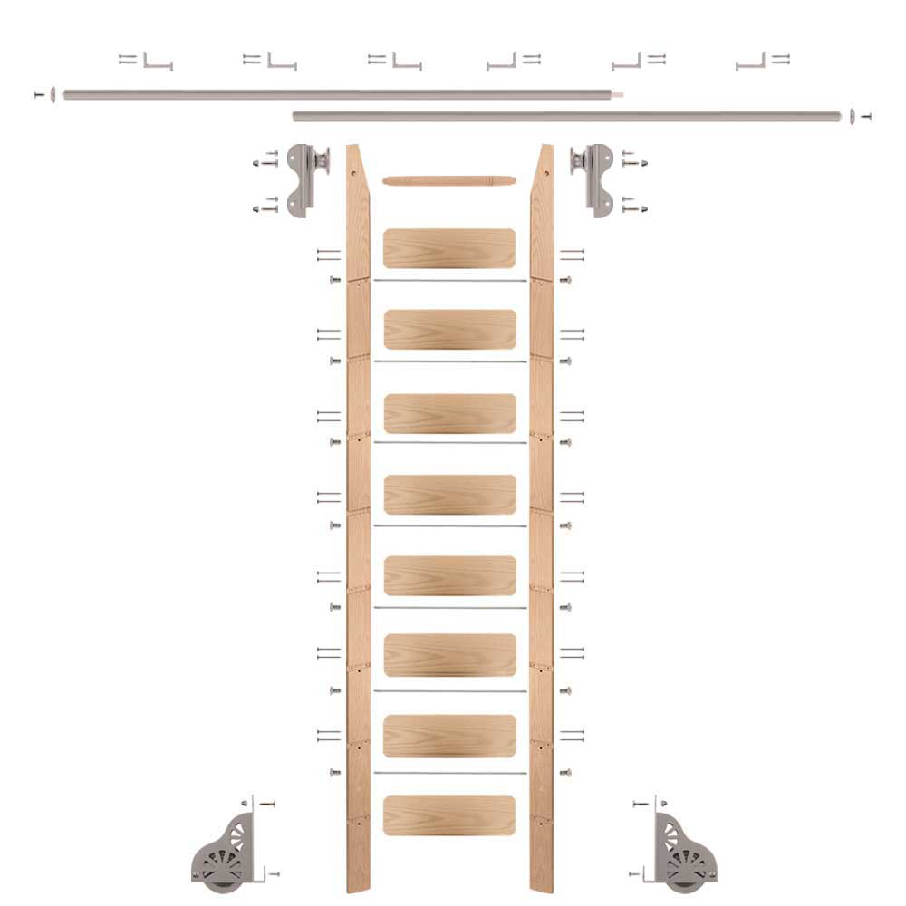 Rolling Hook 9-Foot Red Oak Ladder Kit with 12-Foot Rail and Horizontal Brackets, Satin Nickel