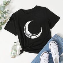 Moon Print Crew Neck Tee