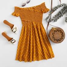Schulterfreies Kleid mit Punkten Muster, Wickel Design und Raffung