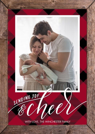 Christmas Photo Cards 5x7 Cards, Premium Cardstock 120lb with Elegant Corners, Card & Stationery -Chrismtas Joy Cheer Plaid by Tumbalina