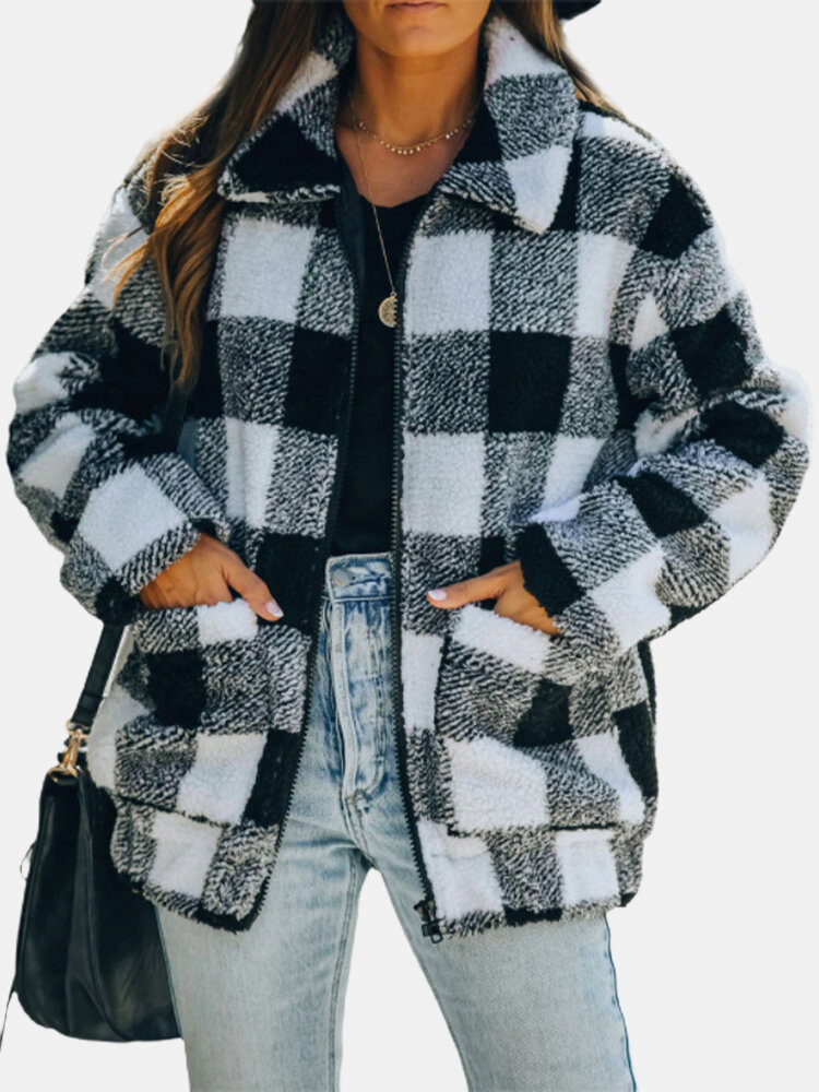 Plaid Lapel Collar Long Sleeve Jacket With Pocket