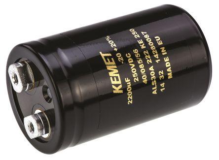 KEMET 2200μF Electrolytic Capacitor 250V dc, Screw Mount - ALS30A222KE250