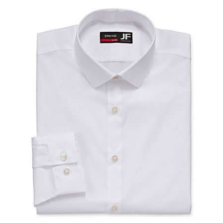 JF J.Ferrar Easy-Care Coolmax Point Collar Big and Tall Long Sleeve Stretch Cooling Dress Shirt, 20 36-37, White