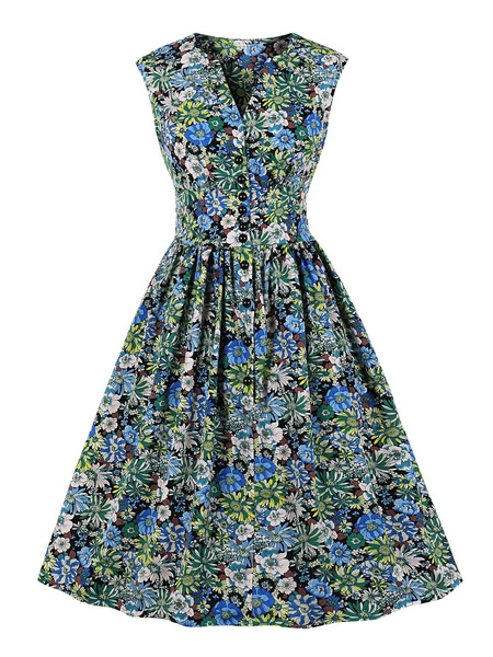 Milanoo Retro Dress 1950s V-Neck Green Buttons Layered Sleeveless Floral Print Knee Length Swing Dress
