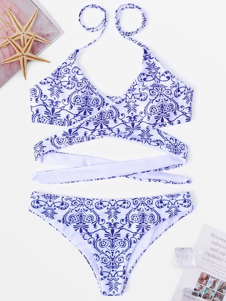 Yoins Blue & White Random Floral Print V-neck Halter Self-tie Bikini