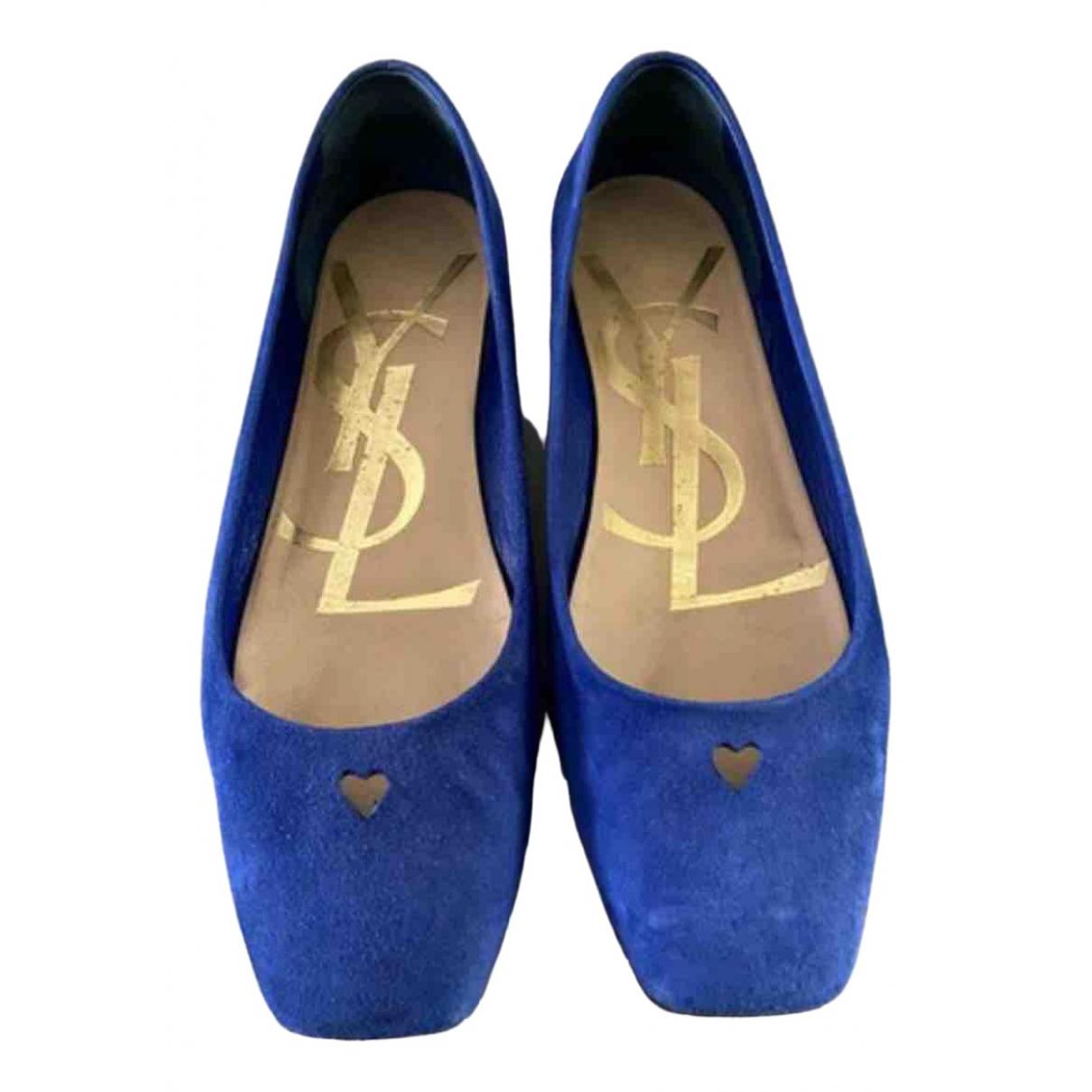 Yves Saint Laurent - Ballerines   pour femme en suede - bleu