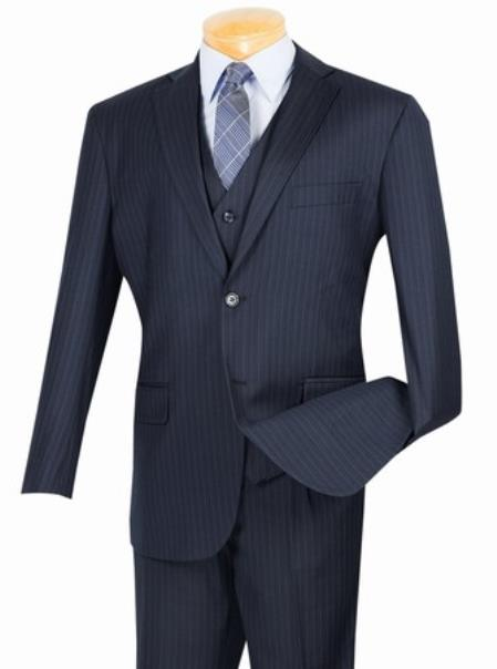 Mens 2 Button with Vest and Classic Pinstripe Suit