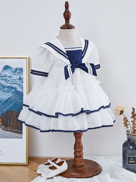 Milanoo Vestido de Lolita para niños Vestido de niña de flores con gradas estilo marinero