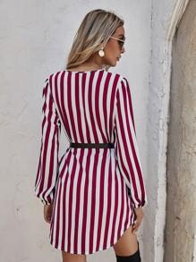 Striped Print Curved Hem Belted Dress