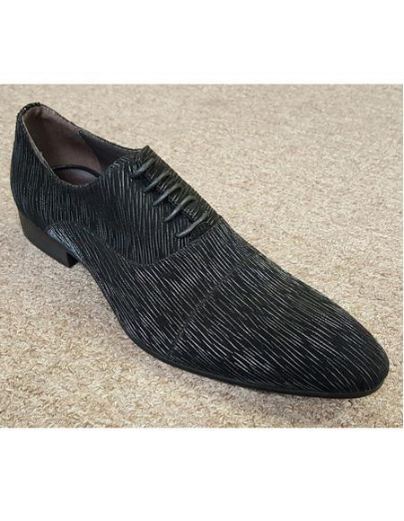 Men's Black Unique Pattern Five Eyelet Lacing Cushioned Insole Shoe