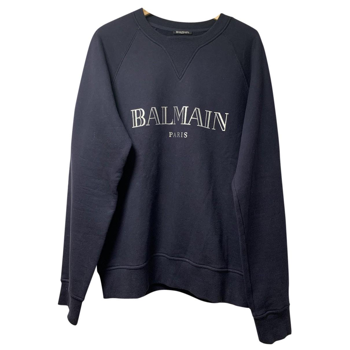 Balmain \N Pullover.Westen.Sweatshirts  in  Marine Baumwolle