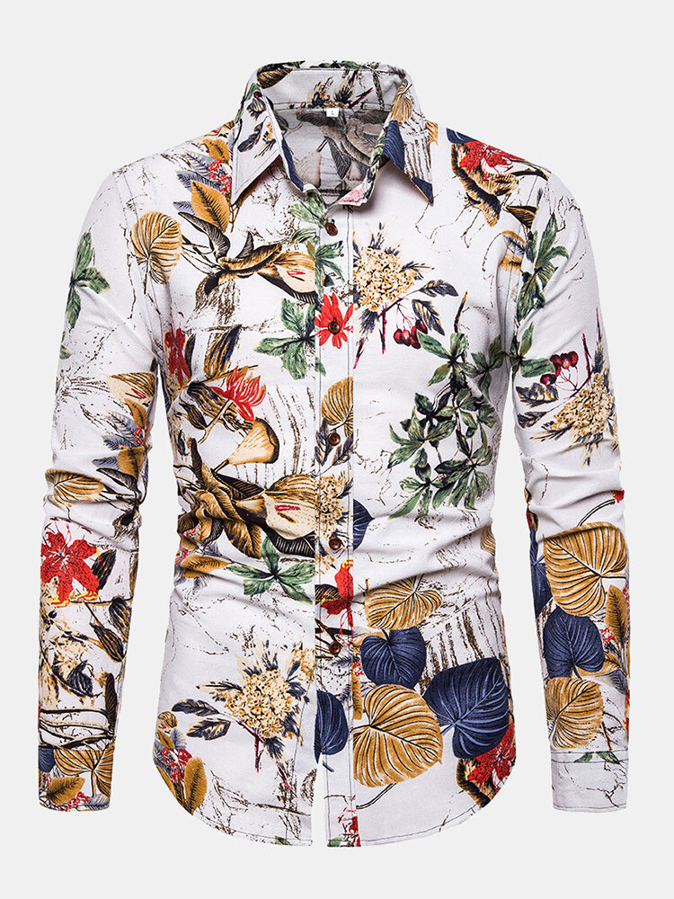 Mens Leaves Floral Printing Flax Breathable Long Sleeve Loose Fit Casual Shirt