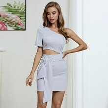 Double Crazy One Shoulder Cut-out Belted Dress