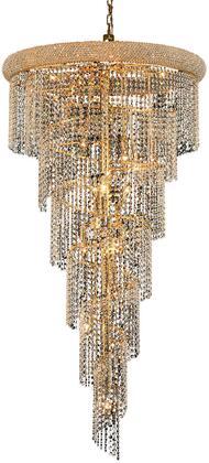 V1801SR30G/EC 1801 Spiral Collection Chandelier D:30In H:54In Lt:22 Gold Finish (Elegant Cut